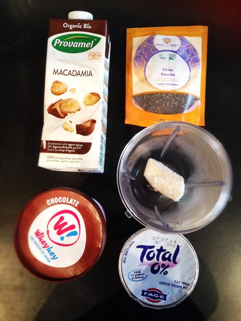 Ingredients for Triple chocolate protein milkshake recipe