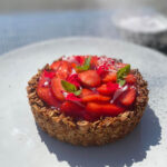 strawberry rose cardamom granola tart