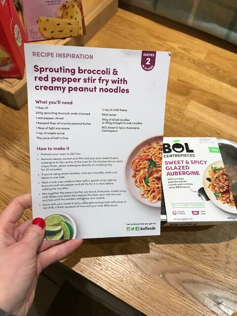 Bol Centrepieces - Aubergine dish with recipe card for the noodle side